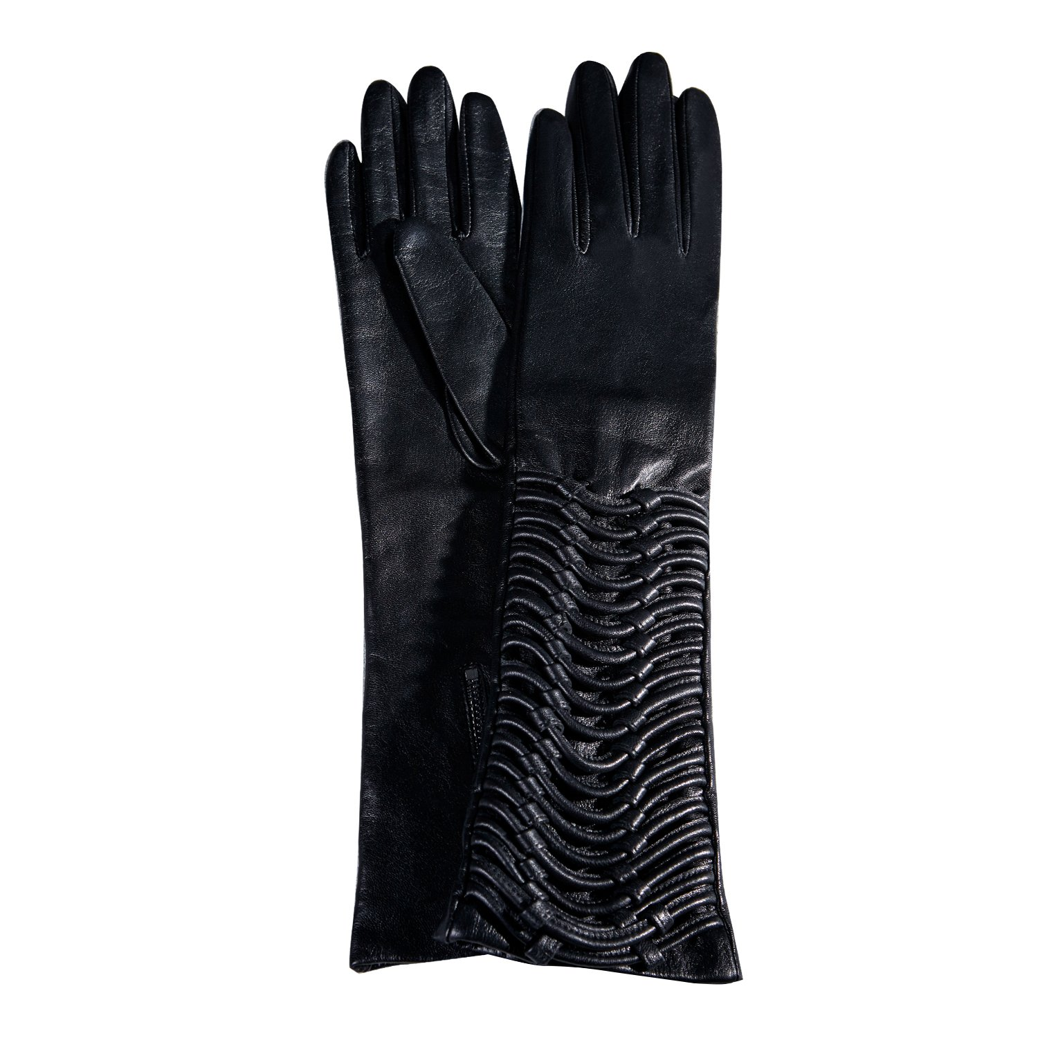 Fioretto Lady Sexy Leather Elbow Gloves Driving Winter Italian Goatskin Ruched Evening Dress Black L