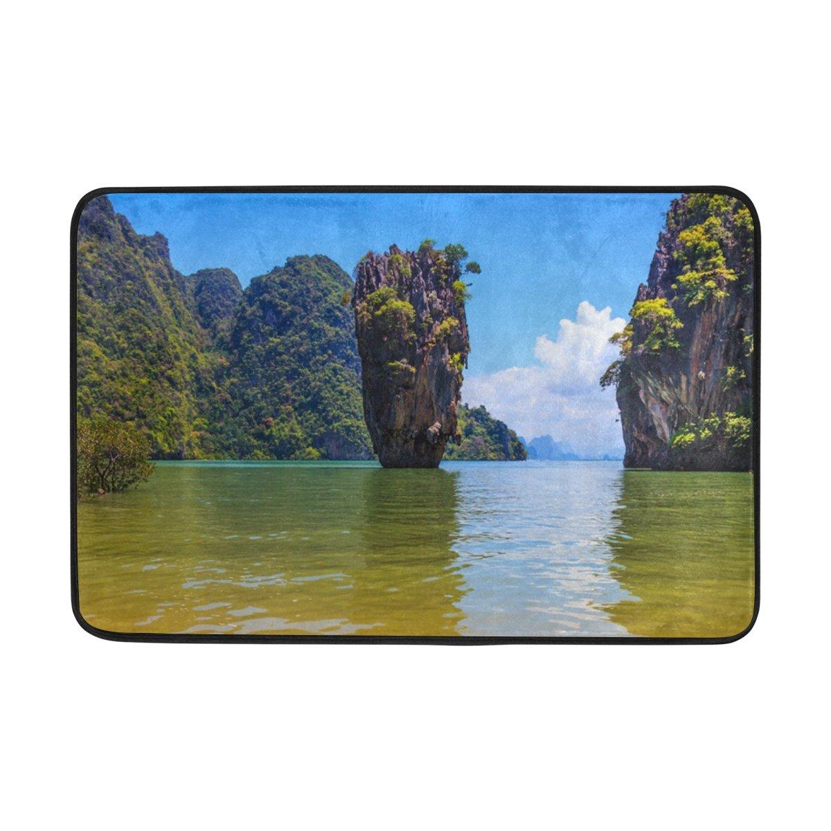 LEISISI Beautiful Thai Coast Fashion Design Indoor Outdoor Doormat 23.6(L) X15.7(W) inch Non-Slip doormat Home Decor