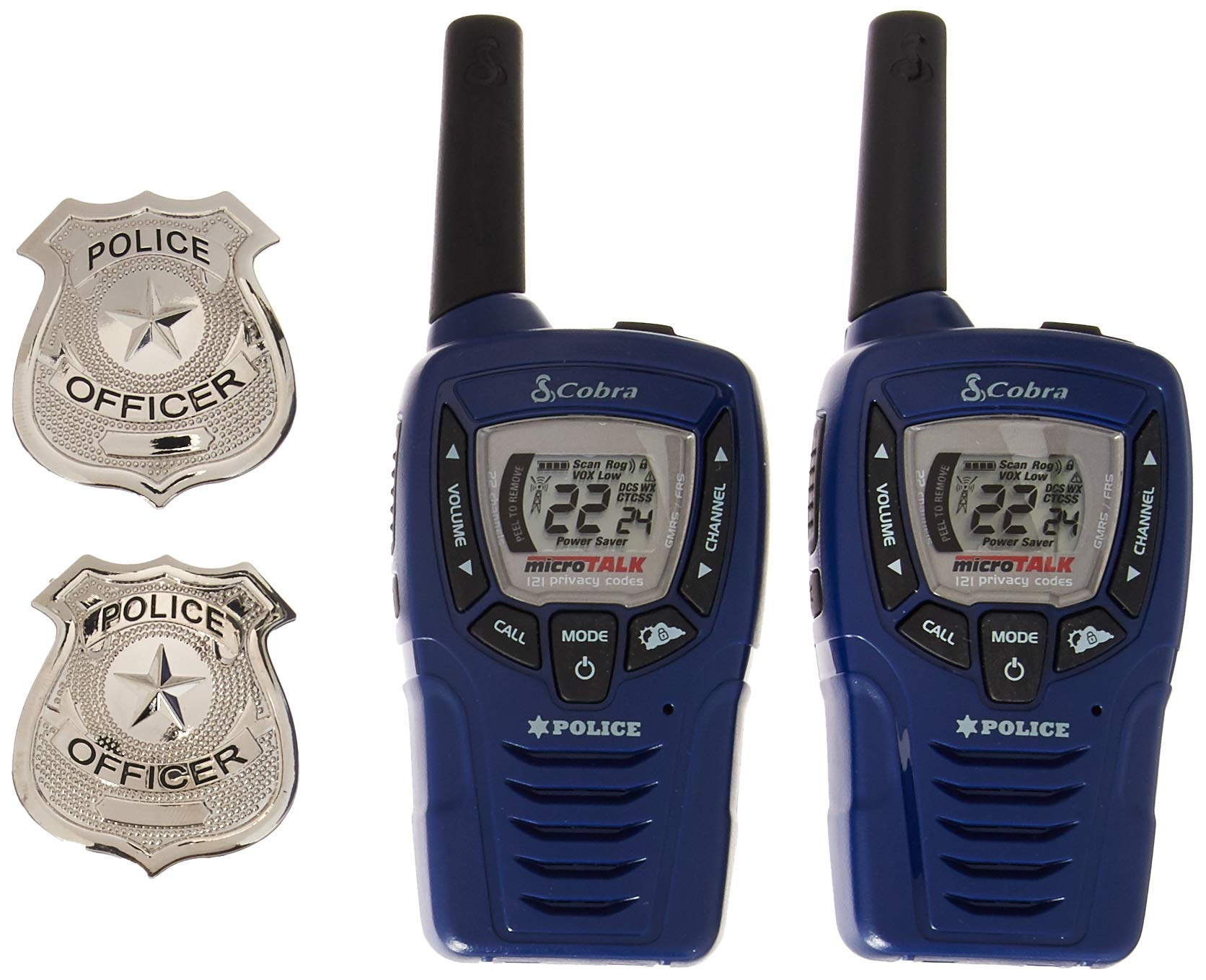 Cobra CX396A Kids' Walkie Talkies Two-Way Radios Toy for Kids, Police Version with 2 Badges (Pair) by Cobra (Image #1)