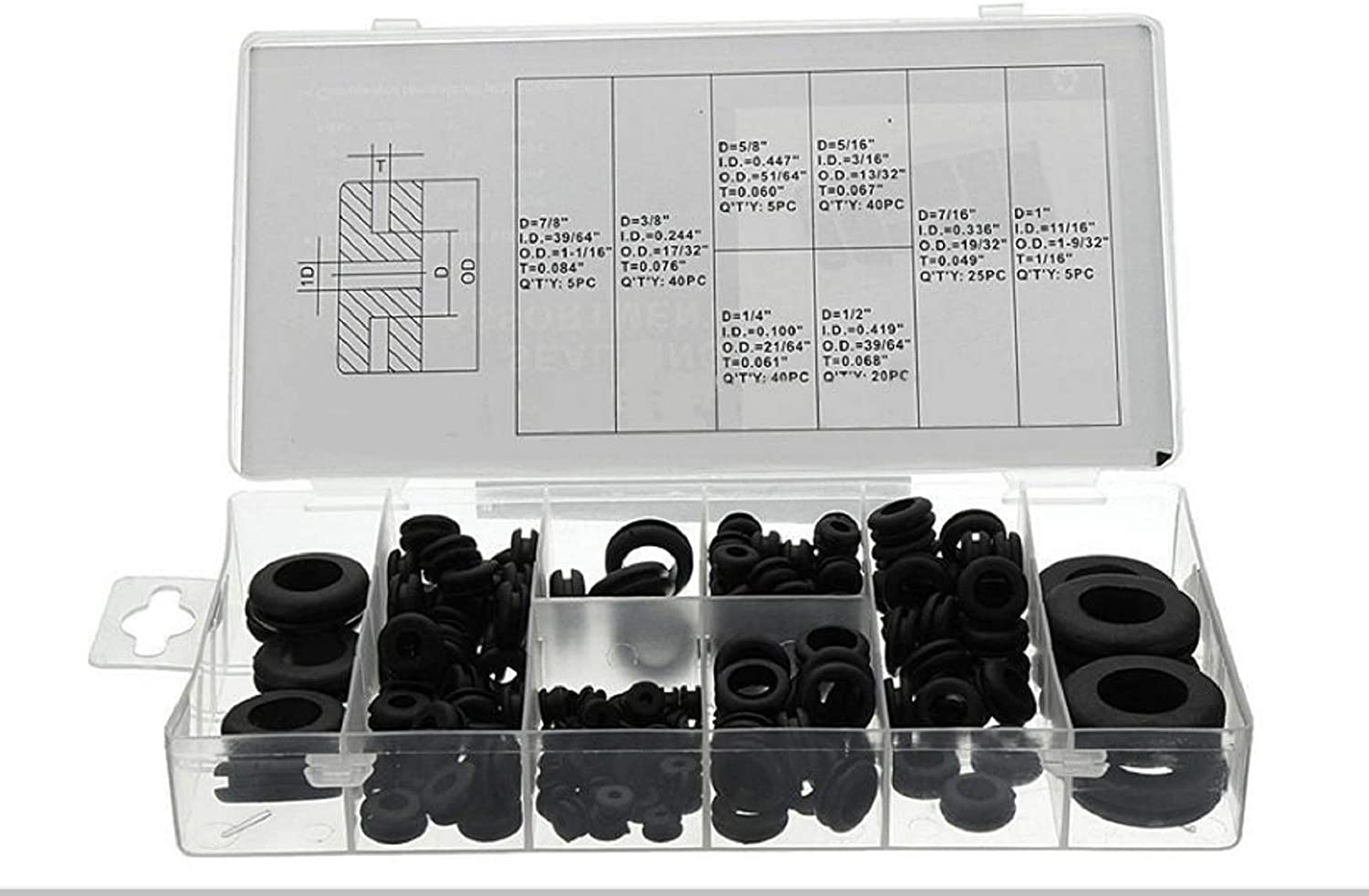 180pc Rubber Grommets Retaining Ring Set Blanking Hole Wiring Cable Gasket Kits Hardware Tools