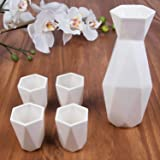 5 Piece Traditional Japanese Sake Set, 1 Tokkuri Bottle and 4 Ochko Cups, White - Unique Custom Modern Design