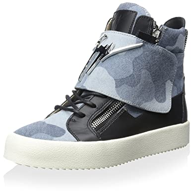 11bbf83d46 Amazon.com | Giuseppe Zanotti Men's High-Top Sneaker, Blue, 39 M EU ...