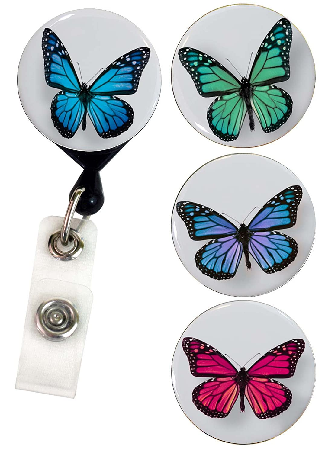 Buttonsmith Butterfly Retractable Tinker Reel Badge Reel with Rotating Alligator Clip and Swappable Tinker Tops - Made in the USA, 1 Year Warranty