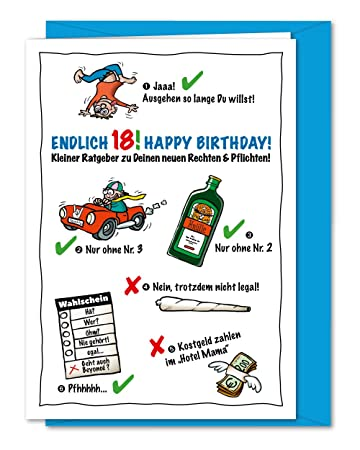 Lustige Und Freche Xxl Geburtstagskarte Zum 18 Geburtstag Karte