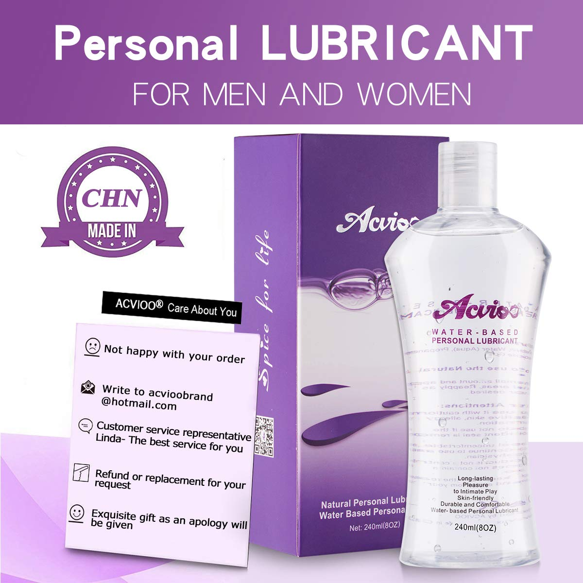 ACVIOO Water-Based Personal Lubricant, Super Slick Long Lasting, Natural Wet Lube for Lovers &Couples (8oz)