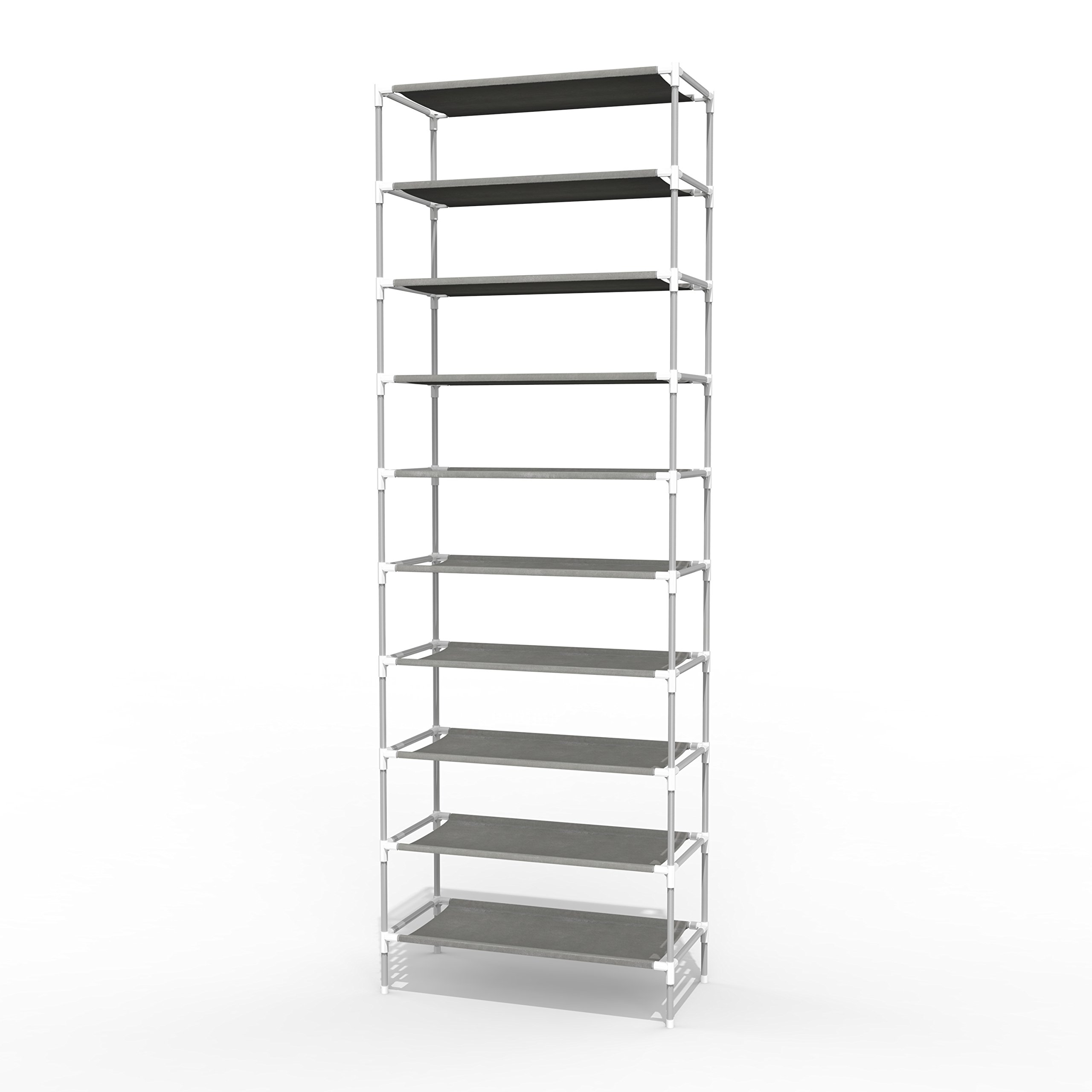 Jaketen 10 Tiers Shoe Rack - Easy Assembled Non-woven Fabric Shoe Tower Stand - Sturdy Shelf Storage Organizer Cabinet Shelf[US STOCK] (White)