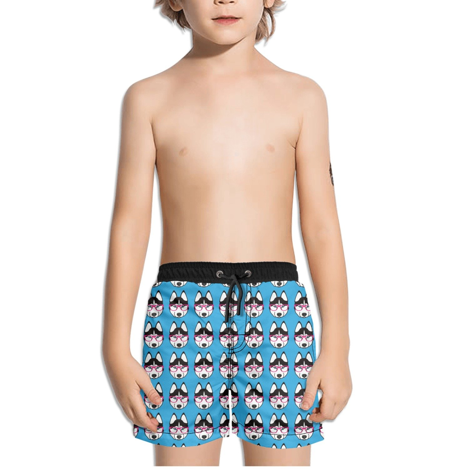 FullBo Cute Husky with Pink Glasses Pattern Blue Little Boy's Short Swim Trunks Quick Dry Beach Shorts