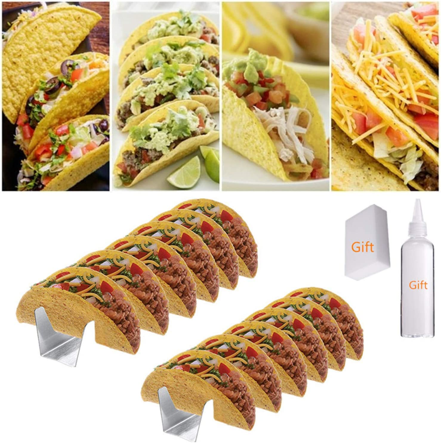 Taco Holder Plate Stainless Steel Rack Fried Food Cooling Drain Tray Pancake Storage Shelf Pizza Pie Display Stand Kitchen Tool Dishwashing Sponge Taco Sauce Bottle 2Packs Taco Tuesday Kit