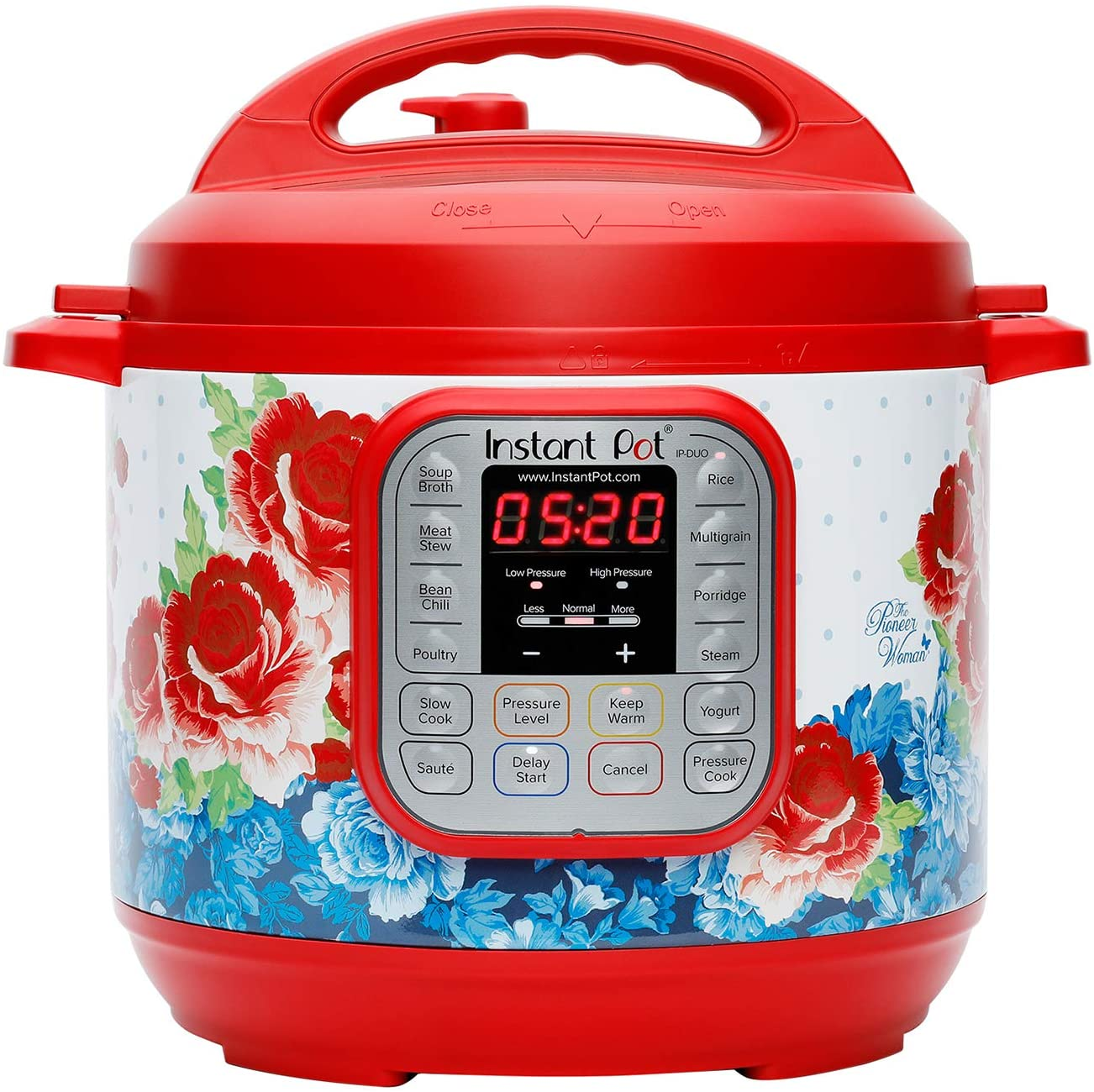 The Pioneer Woman Instant Pot DUO60 6-Quart Frontier Rose 7-In-1 Multi-Use Programmable Pressure Cooker, Slow Cooker, Rice Cooker, Sauté, Steamer, Yogurt Maker, and Warmer