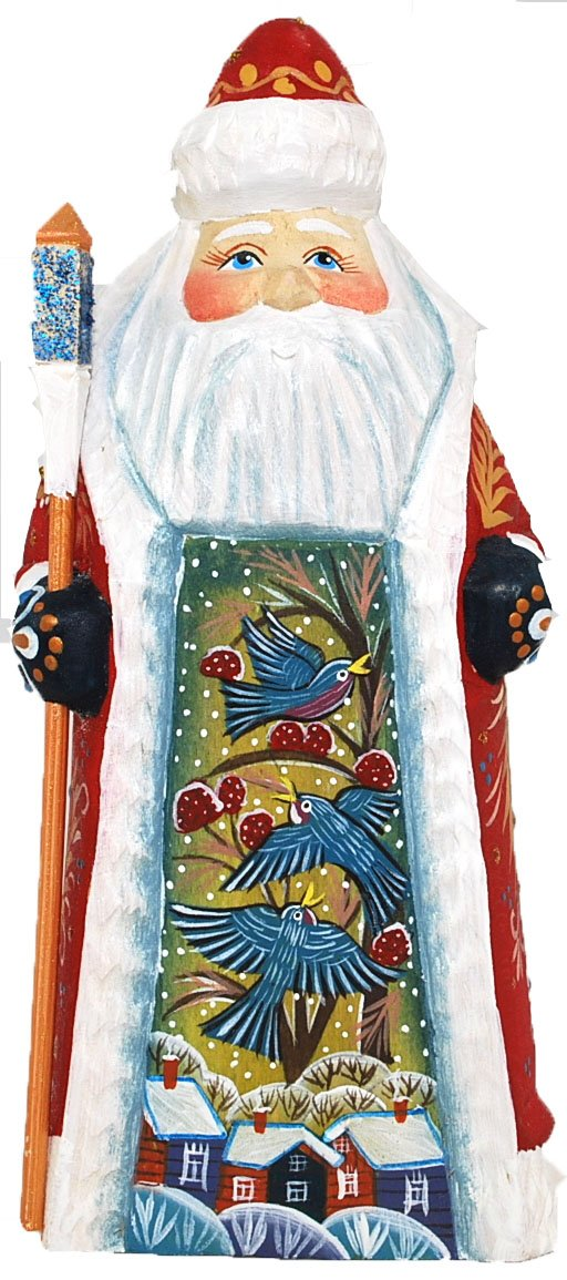 Artist Signed Russian Hand Carved and Painted Wooden Santa/grandfather Frost 7'' Tall