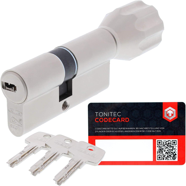 ToniTec CodeCard Gr/ö/ße 55 45K mm Schlie/ßung 3 ABUS Schlie/ßzylinder Schlie/ßanlage als Knaufzylinder Zylinderschloss mit Knauf gleichschlie/ßend EC550 mit 3 Schl/üssel inkl