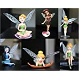 P S Retail PVC Tinker Bell Cartoon Fairy Princess Doll Action Figures, 3.93-inch(Multicolour) - Pack of 6