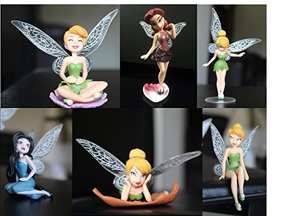 P S Retail PVC Tinker Bell Cartoon Fairy Princess Doll Action Figures, 3.93-inch(Multicolour) - Pack…