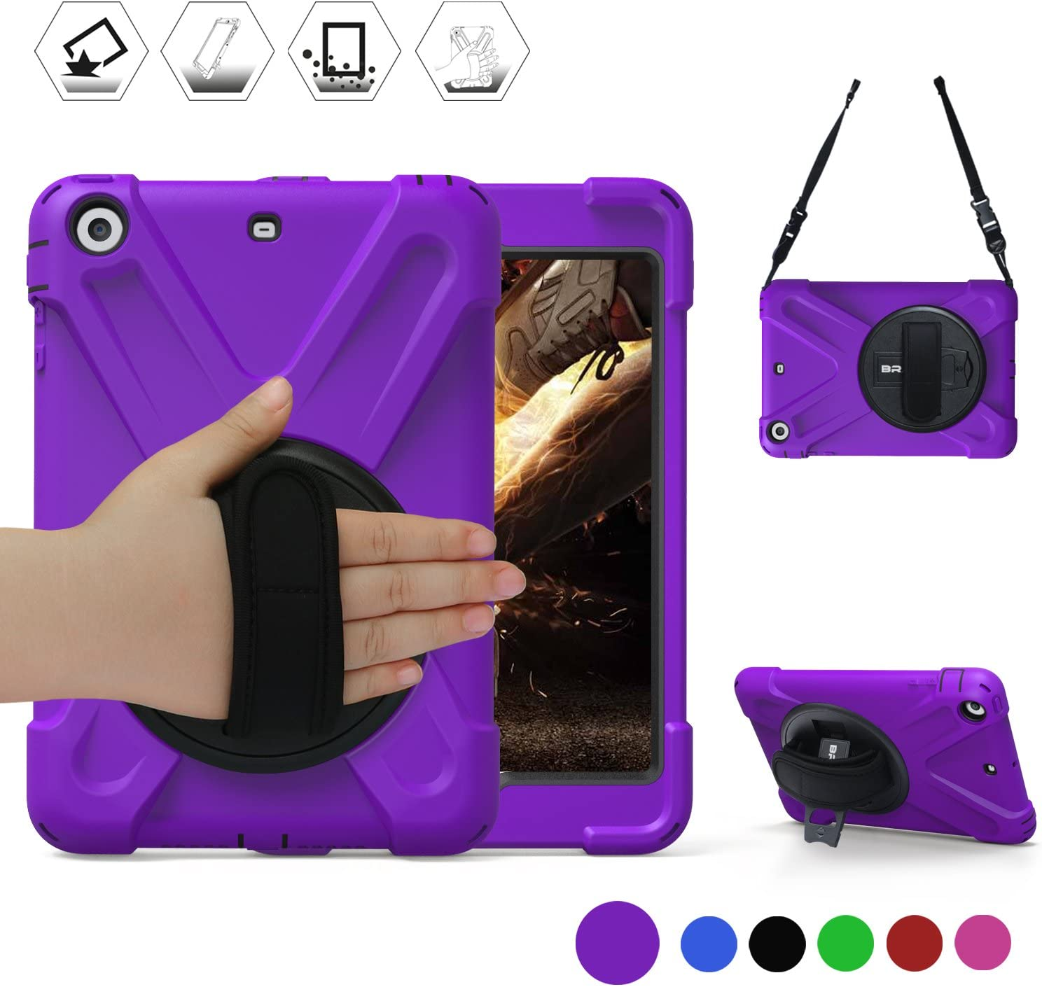 iPad Mini Case,iPad Mini 2 360 Degree[Heavy Duty] Swivel Stand/Hand Strap and a Shoulder Strap Case,iPad Mini 3[Shock Proof][Three Layer] Rugged Hybrid Protective with Kickstand Case (Purple)
