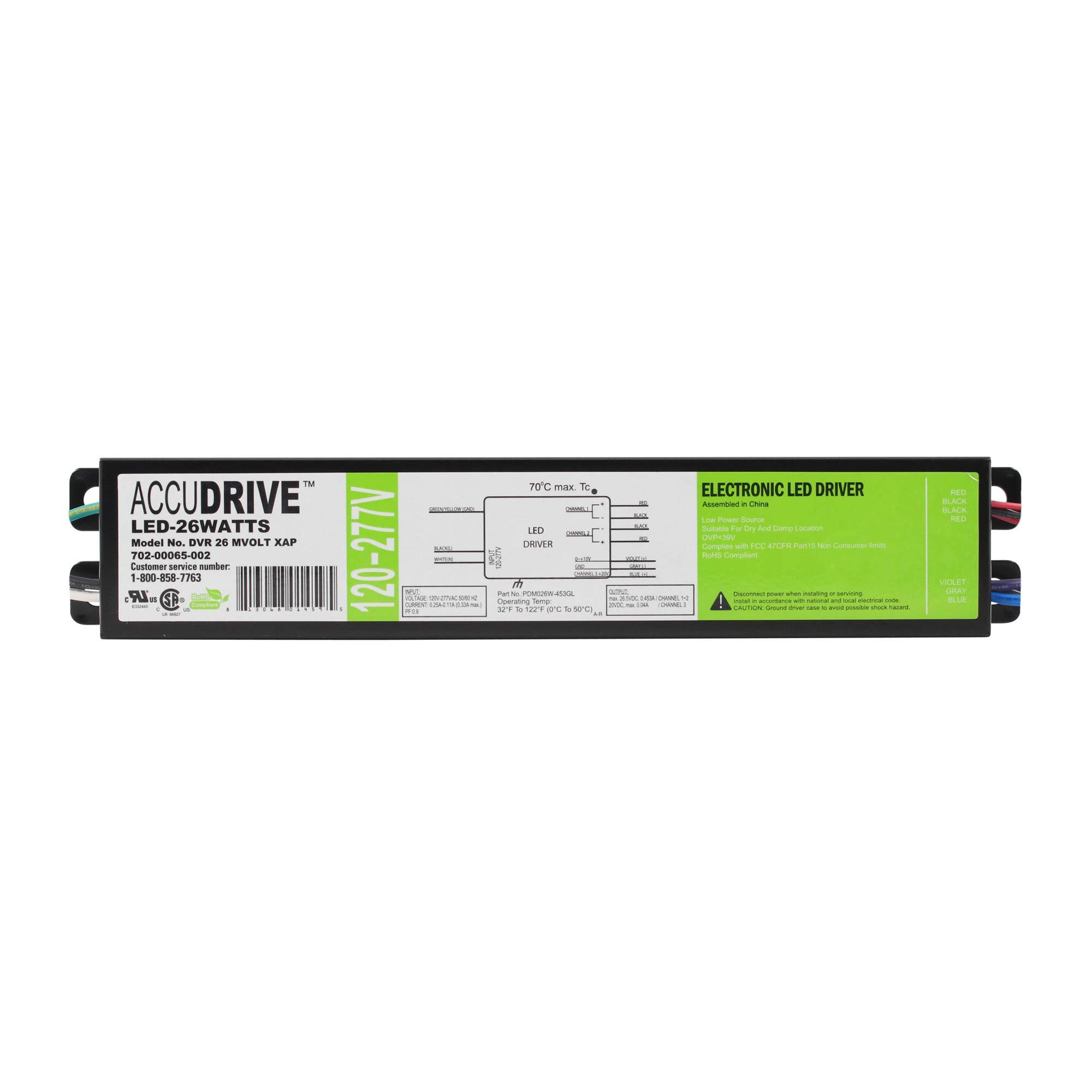 AccuDrive DVR-26-MVOLT-XAP Dimmable LED Driver, 26-Watt, 0-10V, 120/277VAC