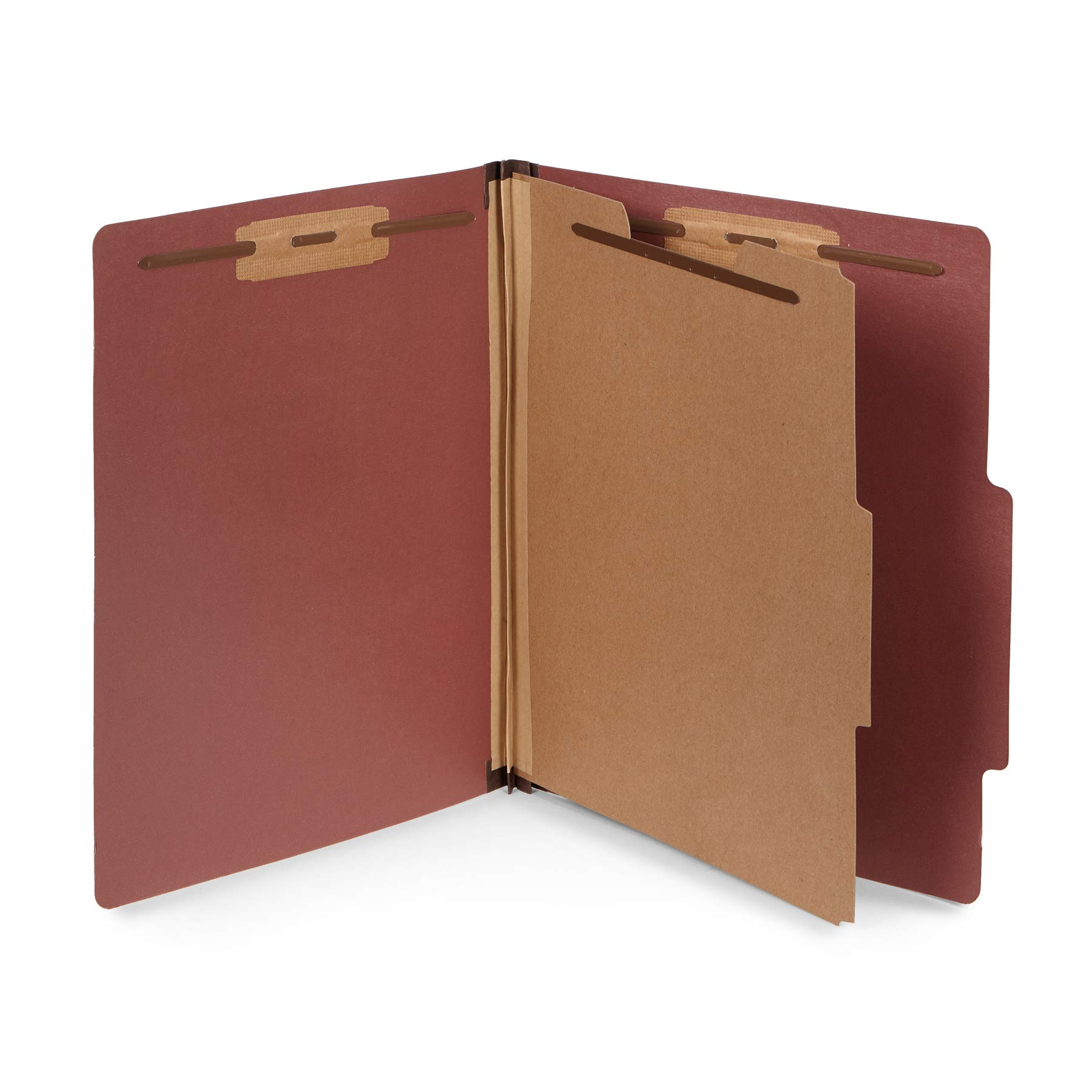 10 Letter Size Red Classification Folders - 1 Divider - 2 Inch Tyvek Expansions - Durable 2 Prongs Designed to Organize Standard Medical Files, Office Reports - Letter Size, Red Brick Color, 10 Pack by Blue Summit Supplies