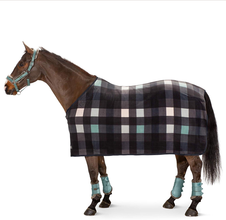 Eskadron Manta para caballo, forro polar, diseño de cuadros, color azul marino, verde y gris