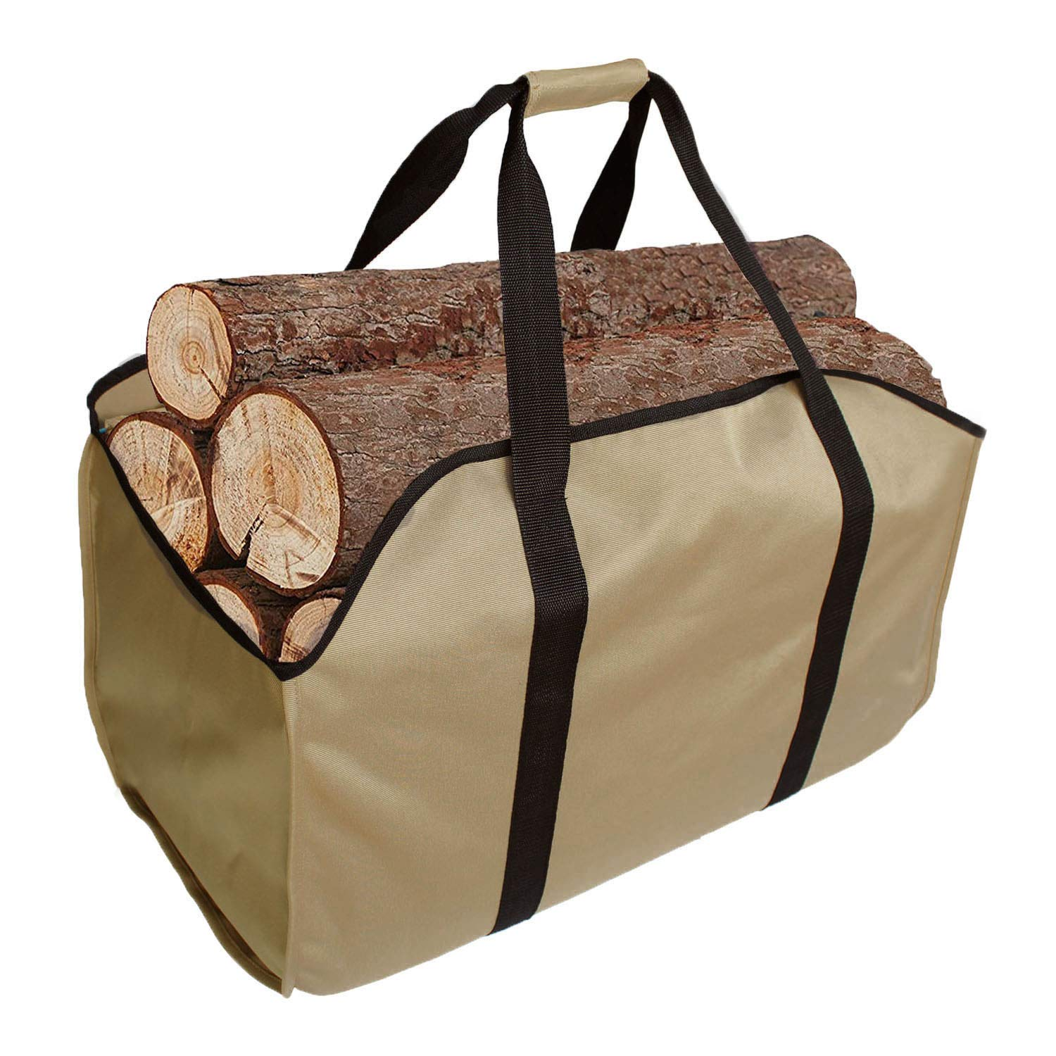KHIKILY Heavy Duty Large Canvas Log Tote Bag Carrier Indoor Fireplace | Firewood Carriers Totes Holders Woodpile Rack for Outdoor Tubular Birchwood Stand Hearth Stove Tools Set Basket (Color 2) by KHIKILY
