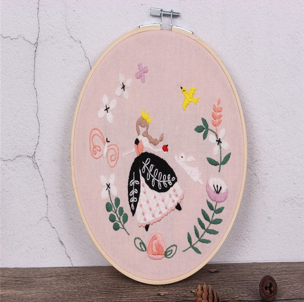 Stamped Embroidery Kit Eafior DIY Beginner Counted Starter Kit for Art Craft Handy Sewing Including Color Pattern Embroidery Cloth,Embroidery Hoop,Color Threads,Tools Kit