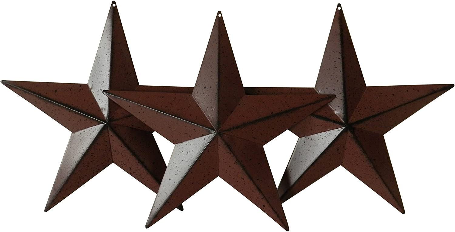CVHOMEDECO. Country Rustic Antique Vintage Gifts Metal Barn Star Wall/Door Decor, 8-Inch, Set of 3. (Burgundy)