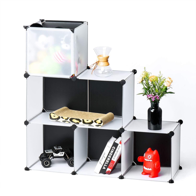 Titan Mall Storage Cube Organizer DIY Plastic Closet Organizer Shelf 6-Cube Cabinet Bookcase Chests Space-saving White