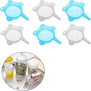 Silicone Stretch Lids Cover Small 6pcs Silicone Can Covers Food Safe Storage Lids for Bowls Jars Cups 2.6 inch