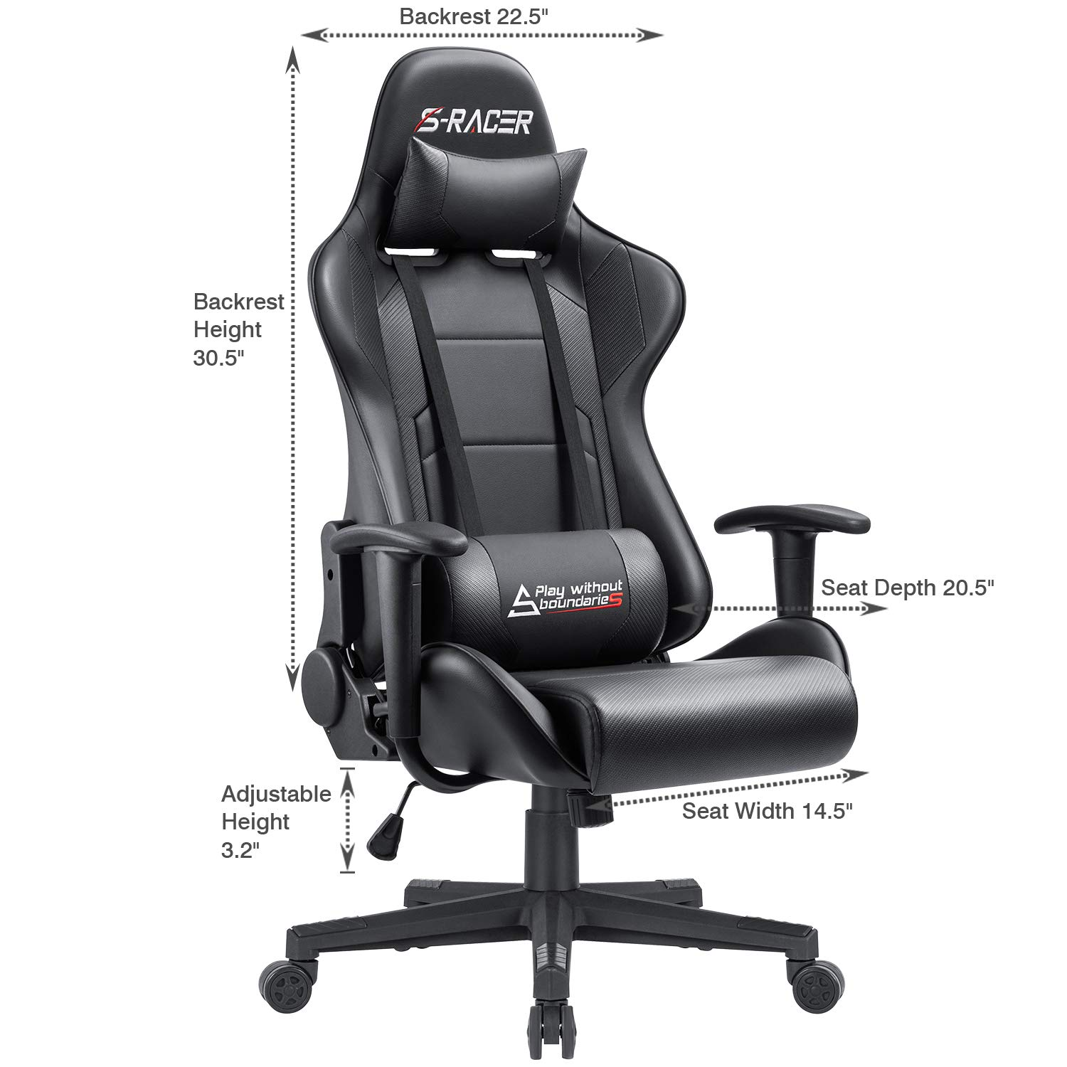 Furniwell Gaming Chair Racing Office Chair Computer Desk Chair Adjustable Swivel High Back Carbon Fiber Style PU Leather Executive Ergonomic Chair with Headrest and Lumbar Support Black