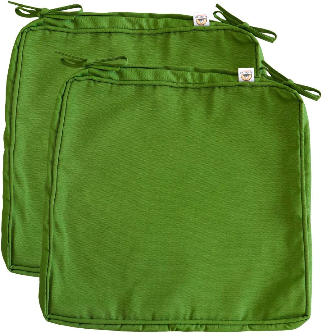 Vanteriam Outdoor Solid Waterproof Patio Chair Seat Cushion Cover with Piping, Large 19''x20''x2'' Washable Replacement Covers Only, 2 Pack Forest Green