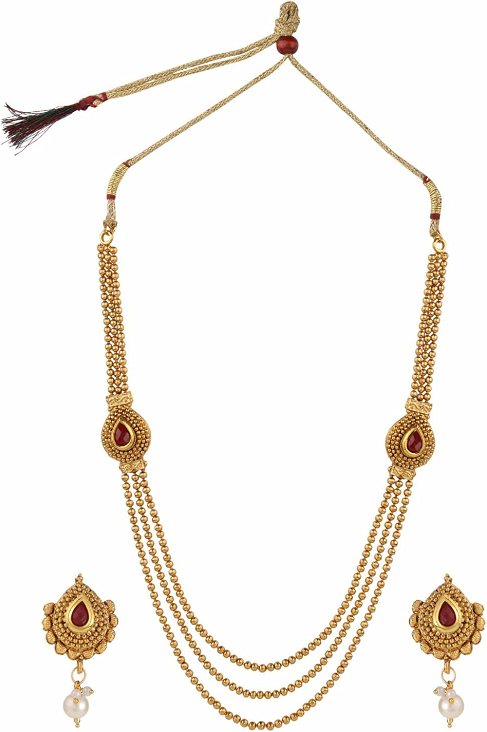 Efulgenz Indian Bollywood Traditional White Red Green Rhinestone Bridal Designer Layered Lariat Style Necklace Set in Antique 18K Gold Tone for Women and Girls