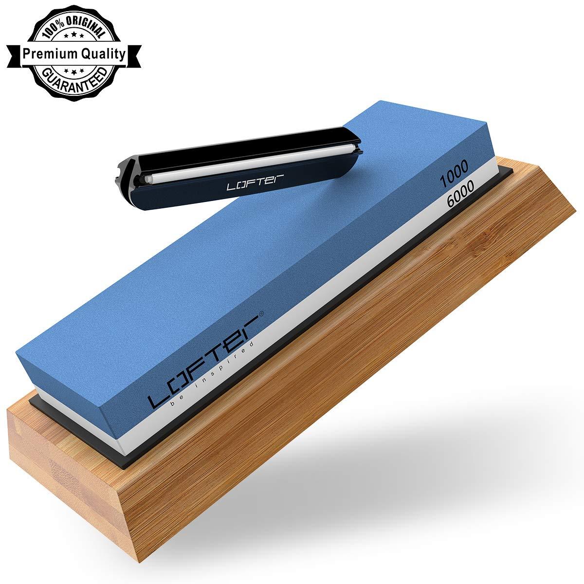 Knife Sharpening Stone, LOFTER Professional Knife Sharpener 1000/6000 2 Side Grit Whetstone, Premium Waterstone Kit with Non-Slip Bamboo Base & Angle Guide, Best Wet Stone Kitchen knife Sharpening Kit by LOFTer