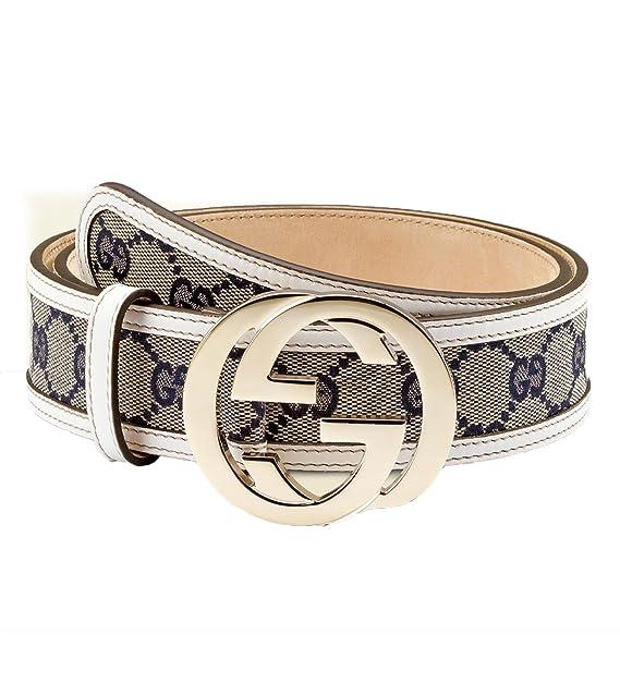 38245d0e015 Gucci original beige gg canvas belt with interlocking g buckle 114984 8624 ( off-white