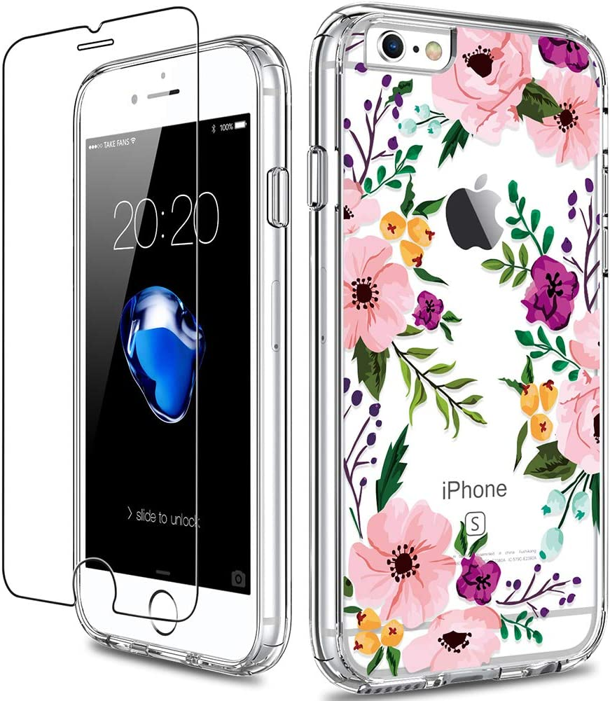 GiiKa iPhone 6 6s Case with Screen Protector, Clear Heavy Duty Protective Case Floral Girls Women Shockproof Hard PC Back Case with Slim TPU Bumper Cover Phone Case for iPhone 6s, Small Flowers