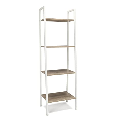 sports shoes 434ad 54802 Essentials 4-Shelf Ladder Bookcase - Modern Free Standing Bookshelf,  Natural/White (ESS-1045-WHT-NAT)