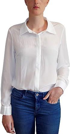 Posh Gear Mujer Blusa de Seda Camicina 100% Seda