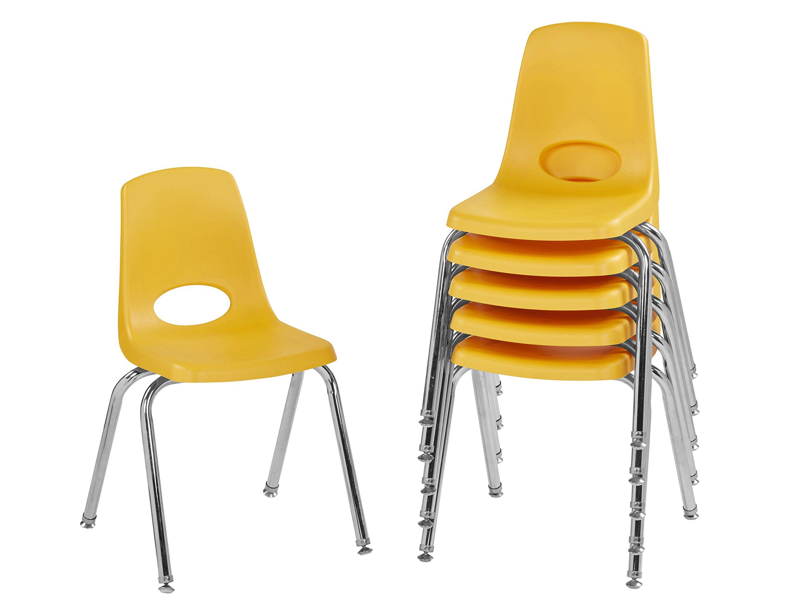 ECR4Kids 16'' School Stack Chair, Chrome Legs with Nylon Swivel Glides, Yellow (6-Pack)