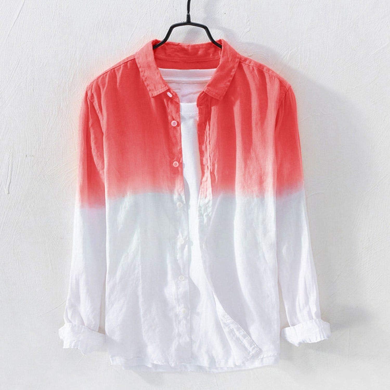 Shooky D Mens Shirts Breathable Cotton Long Sleeve Shirt,Orange,M
