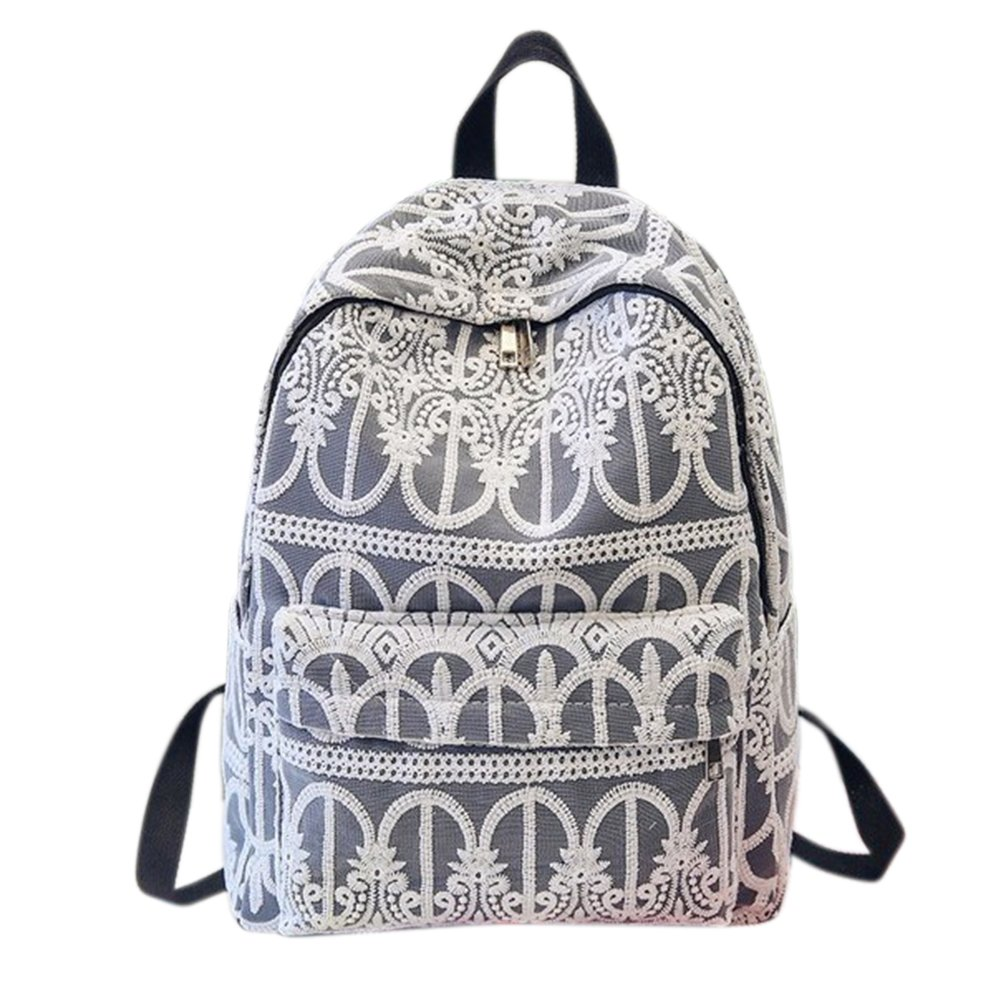 ThinkMax Fashion Lady Girls Solid Color Lace Crochet Backpack Schoolbag Soft Shoulder Bag Elegant Racksack Travel Bag Black