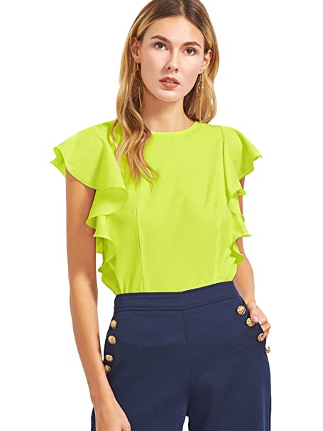 781930b635c MAKEMECHIC Women's Solid Ruffle Sleeve Summer Tops and Blouses Green XS