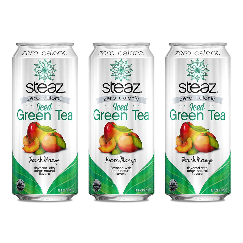 Steaz Organic Zero Calorie Iced Green Tea, Peach Mango, 16 OZ (Pack of 3)
