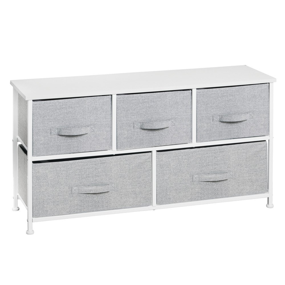 InterDesign Aldo Fabric 5-Drawer Dresser and Storage Organizer Unit for Bedroom, Apartment, Small Living Spaces – Gray