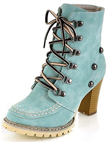 Women's Fashion Studded Round Toe Lace Up Chunky High Heels Ankle Martin Boots Shoes