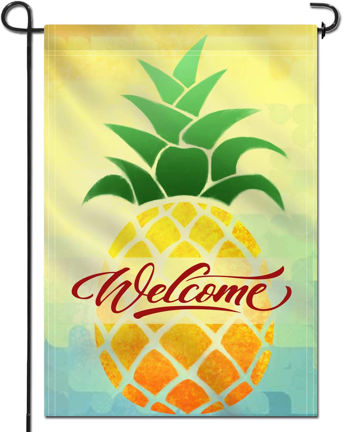 Anley Double Sided Garden Flag - Cartoon Pineapple Welcome Decorative Spring Summer Garden Flags - Weather Resistant & Double Stitched - 18 x 12.5 Inch