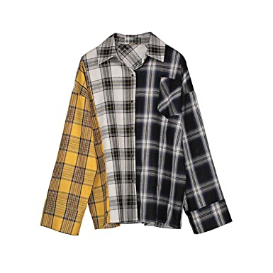 Chiffoned New Spring Shirt Women Plaid Shirt Cotton Long Sleeve Patchwork Blouse For Girls Top Street