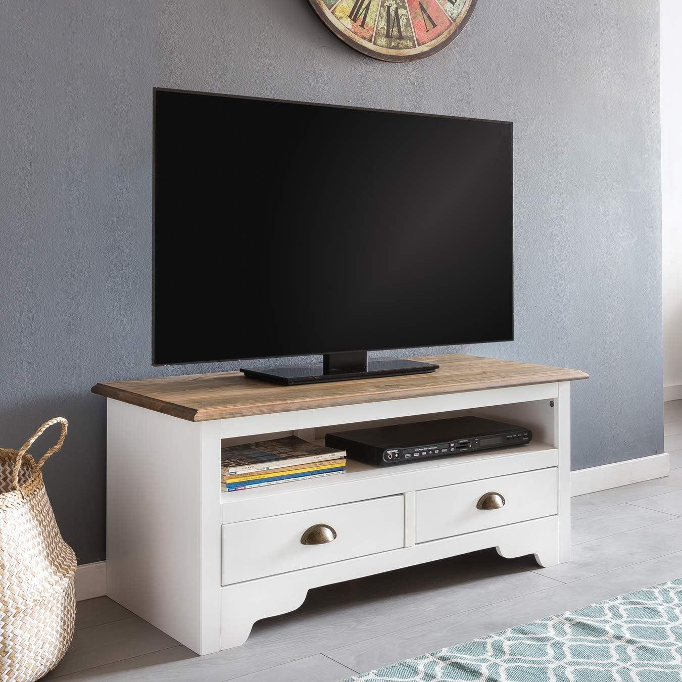 KS-Furniture Mayla - Mueble bajo para televisor (Madera Maciza de Pino, 100 x 45 x 45 cm, 2 cajones), Color Blanco: Amazon.es: Juguetes y juegos
