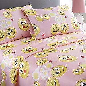 SPIRIT LINEN HOME Pink Emoji 3 Piece Sheet Set, Twin