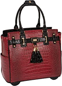 JKM and Company THE WESTLAKE Burgundy Red & Black Alligator Compatible With Computer iPad, Laptop Tablet Rolling Tote Bag Briefcase Carryall or Overnighter Bag