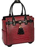 JKM and Company THE WESTLAKE Burgundy Red & Black Alligator Compatible With Computer iPad, Laptop Tablet Rolling Tote…