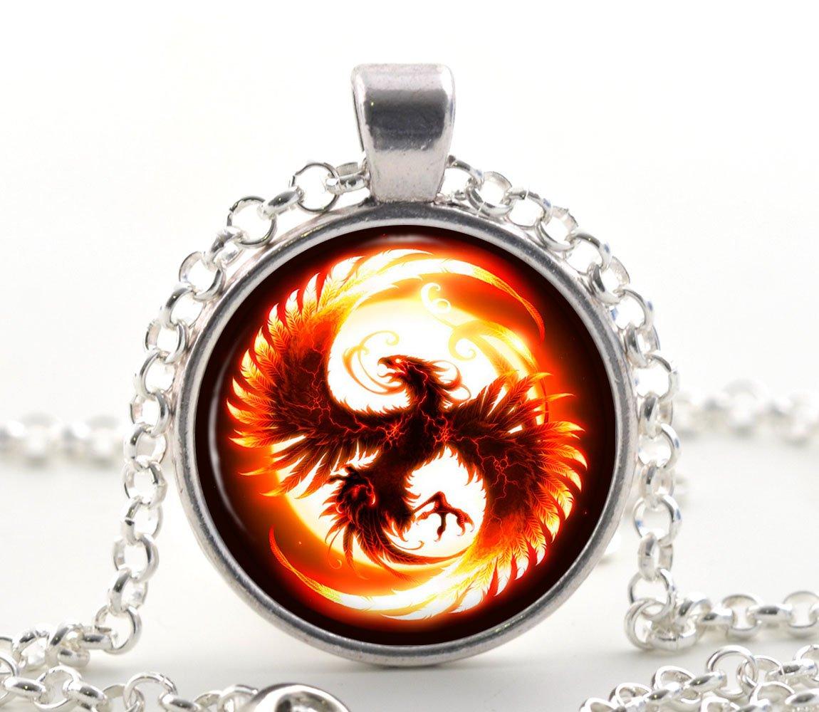 Silver Phoenix Necklace, Glass Pendant, Fantasy Fire Bird Art Jewellery Gift