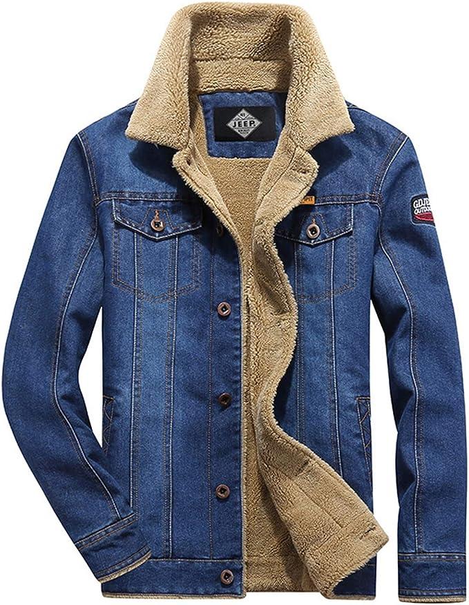 デニムジャケット メンズ カジュアルジャケット 大きいサイズ 裏起毛 ふわふわ 防寒着 アウターウェア ウィンターウェア ボタン式 スリム シングル ボア 綿 通勤 通学 あったかい ブルー M-XXXXL
