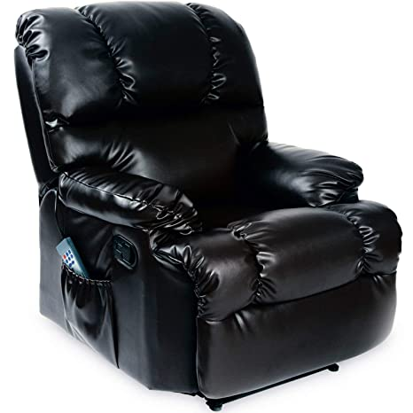 Cecotec - Sillón de Relax Masaje, Función Calor, 10 programas, 10 intensidades, 8 Motores, Mando de Control con Temporizador, Polipiel, Bolsillo ...